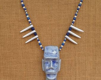 Ceramic Moai pendant/necklace.