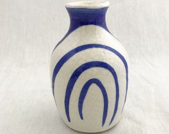 Blue Striped Pottery Vase