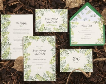 Botanical Garden // customisable green leafy wedding invitation suite