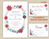 Floral Wreath Wedding Invitation Set I FREE RSVP or Save The Date  Affordable Printed Wedding Invitation Set I Custom Unique Elegant