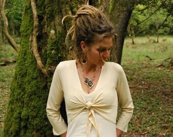Cream long sleeved shrug, Tie top for women, Wedding bolero, White shoulder warmer, Boho coverup, Cropped waistcoat, Basic clothing for her