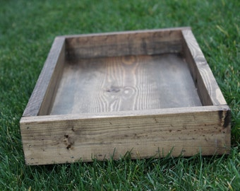 Wood Tray Box, Rustic, Dark Walnut