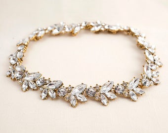 Cubic Zirconia Crystal Swarovski Crystal Antique Gold Bridal Necklace.  Bridal Jewelry. Wedding Jewelry  JSB 10096 N Antique Gold