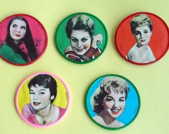5 Vintage 1950's Celluloid Pocket Compact Mirrors with Movie Stars New Old Store Stock