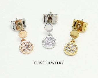 Tiny disc crystal drop earrings, earring for baby, girls earrings, unique earrings, Fashion Jewerly, Everyday wear, Elysee Jewerly