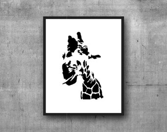 Giraffe Digital Print, Graphic Print, Art Print