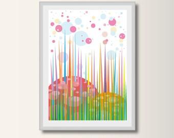 Fairy Tale Forest, Frülling, landscape, geometric pressure, minimalist printing, Scandinavian printing, abstract poster, minimal print,