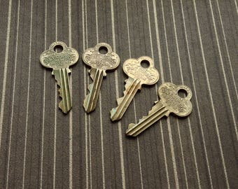 4 Vintage P & F Corbin, New Britain CT.  Brass Keys for your Steampunk, Altered Art, Mixed Media, Assemblage, Jewelry Project!