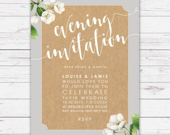 Evening wedding invitation - Botanicals design, personalised, customisable and pre-printed with your guests names