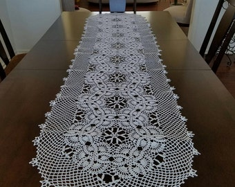 Hand Crocheted tablecloth for a long table