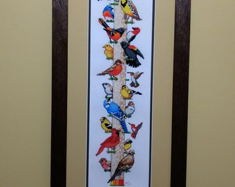 Bird Feeder - Cross-stitch - Needlework - Framed Art - Fiber Art