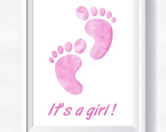 80%OFF Baby shower printable, it's a girl print, nursery wall art, nursery girl, little feet print, girl feet, download, watercolor nursery
