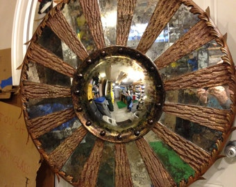 Antiqued mirror and poplar bark convex mirror