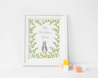 Peter Rabbit Personalised Print/ Birthing Gift/ New Baby/ Nursery Decor/ New baby Gift/ Welcome To The World