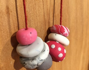 Pink polymer clay necklace, handmade, adjustable length