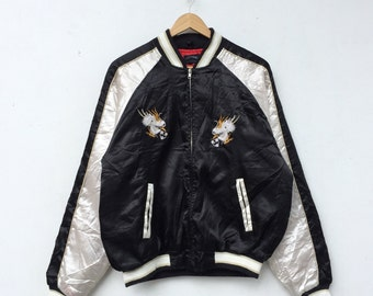 Rare!! SUKAJAN Jacket Vintage Embroidered Jacket Japanese Souvenirs Sukajan Satin Jacket Size M