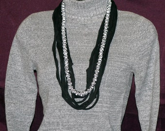 Black and White T-Shirt Necklace with Zebra Beads