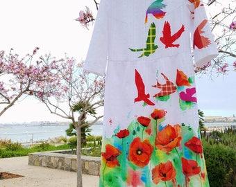 Hand Painted Midi Dress by Irina MADAN / 100% Handmade Dress