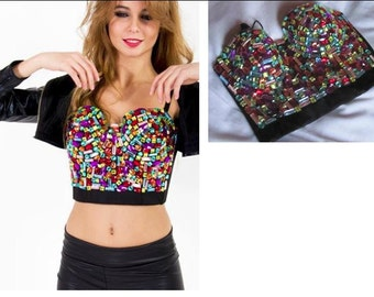 top crop size 38 with acrylic gems applications