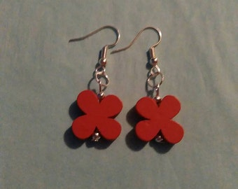 Red Flower / Butterfly Silver Plated Wood Beaded Fashion Earrings Handmade