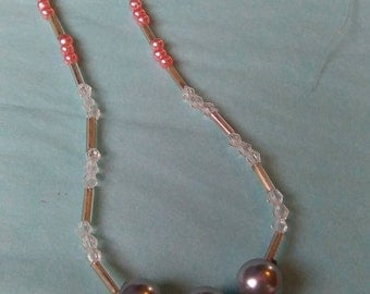 Silver & Pink Pearl Seed Bead Elegant Fashion Necklace Handmade