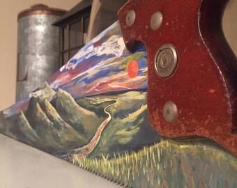 Antique Saw Landscape Painting
