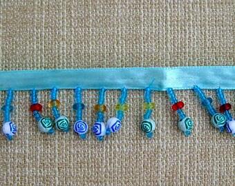 Blue Beaded Fringe/Trim - 10 yards