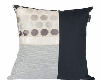 Cushion cover gray anthracite round pattern gray and black