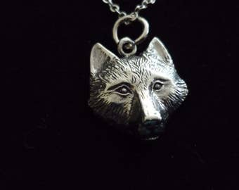 "Wolf W14 Pewter On a 16"" 18"" 20"" 24"" inch Silver Plated Curb Chain Necklace"