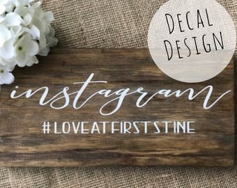 Instagram wood sign DECAL, Wedding hashtag sign Decal, Wood hashtag sign, Instagram wedding sign, Instagram sign,