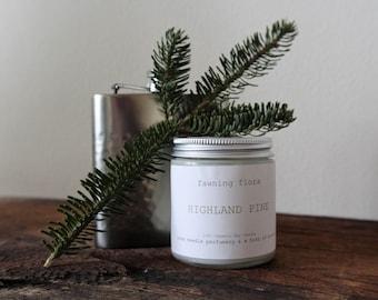 Pine Needle & Scotch Soy Wax Candle // 4 oz, vegan, organic, handpoured•