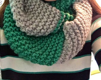 Gray and Teal Infinity Scarf