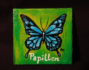 One of a kind original painted magnet Blue swallowtail Butterfly
