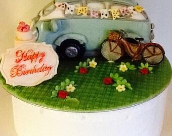Novelty,Vintage, retro, caravan, dog, handmade, unique,bespoke,edible,sugarpaste,birthday,celebration, cake topper