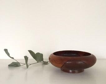 Carved Wooden Floral Bowl