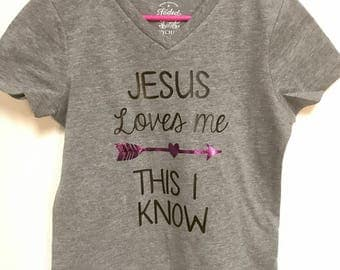 Jesus Loves Me Shirt for Girls-Christian shirt for Toddlers-Christian Shirts for Kids