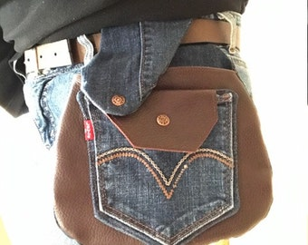 Denim and Leather Belt Purse