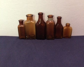 Vintage Brown Rectangular Bottles, Assortment of 6