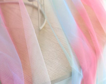 Rainbow Color /Ombre Color Tulle Fabric Cloth