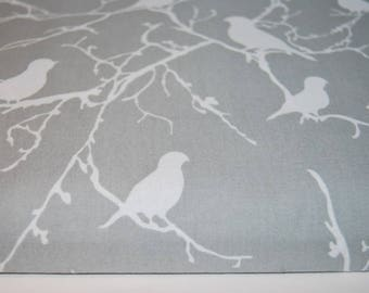 Birds Grey Cotton Fabric