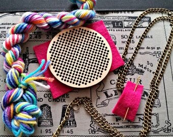 cross stitch pendant, cross stitch kit, wooden pendant, stitchable necklace, DIY kit, adult craft kit, jewellery making kit, hand dyed yarn