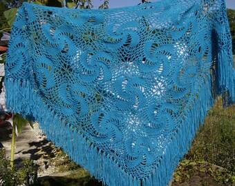 Crochet shawl.  Turquoise shawl.