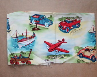 Fabric remnant - vintage transport - micheal miller