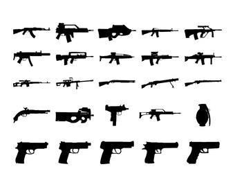 Army weapons Gun SVG Rifle Pistol Grenade Machine gun SVG PNG Cut files for silhouette Cricut designs Bundle