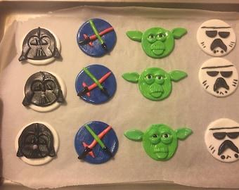 Star Wars Fondant Cupcake Toppers (12 asst.)