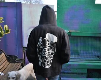 Vesart: RaveAid Hoodie. Black w/ White Print.  (All profits to charity)