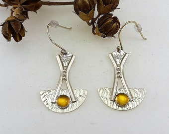 Art Deco Inspired, Citrine Cabochons, Hammered, Sterling Silver, Dangle Earrings
