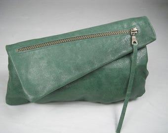 The Francesca, Green leather clutch, Batik lining