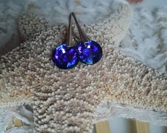 Sparkling Crystal dream - Crystal Heliotrope, earrings, earrings, blue - violet, 925 sterling silver