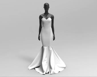 Custom Made Heavy Bridal Satin Sweetheart Neckline Mermaid Dress ( Prom/Wedding/Red Carpet )